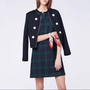 Claudie Pierlot Raison Dress Navy & Green Plaid, 4